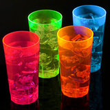 5 Oranje Neon Plastic Glazen 285ml_
