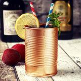 4 Koperen Cocktail bekers in blikvorm 280ml_