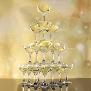 Champagne toren (20,35 en 56 glazen)