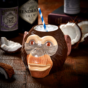 Ceramic Monkey Head Tiki Mug Sharer 34.3oz / 975ml