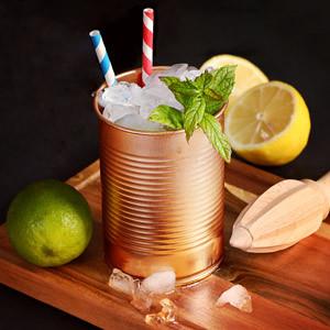 4 Koperen Cocktail bekers in blikvorm 280ml